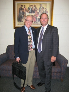 Bob Rees and Cris Baird after fireside at Arlington Stake Center on June 24, 2013