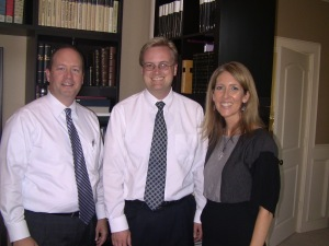 Cris Baird, Matt Grow, and Janae Baird prior to fireside on October 21, 2012.