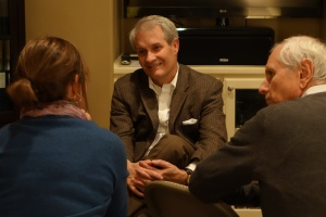 Tom Griffith visits with Miller Eccles Study Group attendees on Saturday, November 23, 2013, in Arlington, Texas.