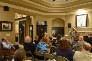 Craig Harline speaks to Miller Eccles Study group in Arlington, Texas.
