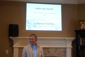 Spencer Fluhman speaks to Miller Eccles Study Group Texas at a study group meeting in Arlington, Texas, on July 25, 2015.