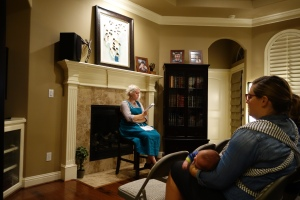 """Ashley Mae Hoiland reads from her book """"One Hundred Birds Taught Me to Fly"""" at a Miller Eccles Study Group Texas Meeting in Arlington on November 12, 2016"""