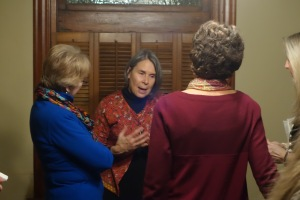 Jill Mulvay Derr visits with study group attendees in McKinney.
